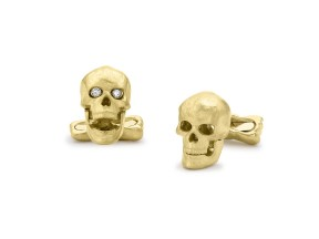 18ct Gold Skull Cufflinks with Popping Diamond Eyes