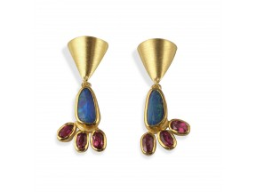 Gold & Opal and Tourmalines Earrings