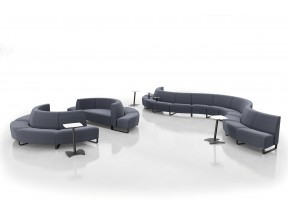 Coffee House Collection with Half Round Ottoman & Metal T-Arms
